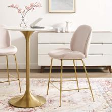 Scoop Gold Stainless Steel Leg Performance Velvet Counter Stool in Pink