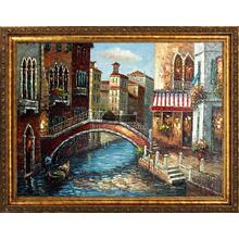 Bridge Across Framed Hand Painted Art, Oil on Canvas