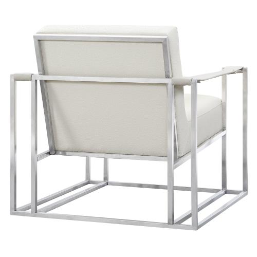 Tov Furniture - Baxter Ostrich Print Chair in Cream with Silver Base