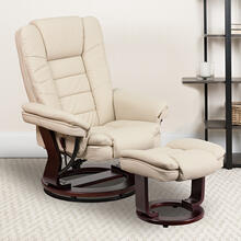 Contemporary Multi-Position Recliner with Horizontal Stitching and Ottoman with Swivel Mahogany Wood Base in Beige LeatherSoft