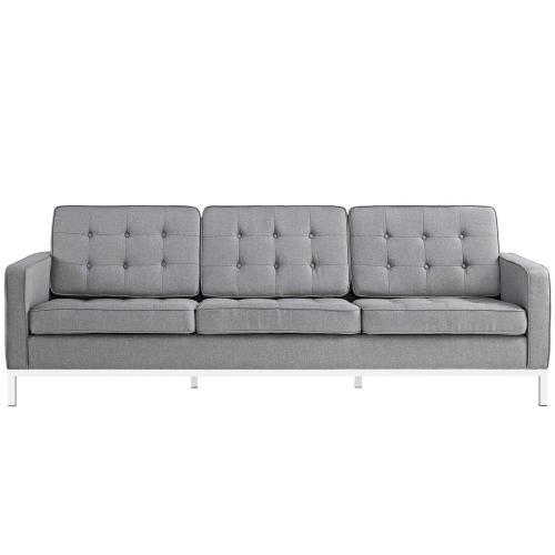 Loft Upholstered Fabric Sofa in Light Gray