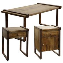 MANGO WOOD SET OF TABLES  Coffee Table 21in X 42in X 18in  Accent Tables 18in X 15in X 24in  Rust