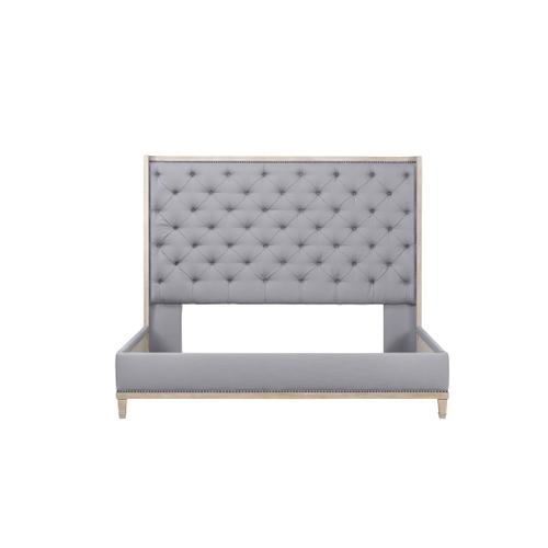 Anna Upholstered King Bed Nickel Weathered Oak Antique Pewter