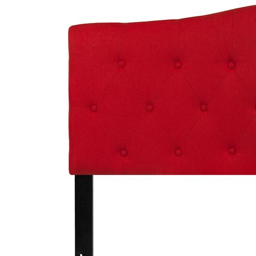Cambridge Tufted Upholstered Queen Size Headboard in Red Fabric