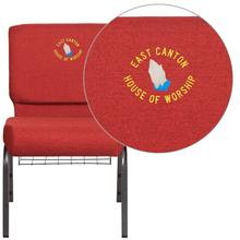 Embroidered HERCULES Series 21'' Wide Crimson Fabric Church Chair with 4'' Thick Seat, Cup Book Rack - Silver Vein Frame