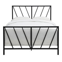Black Chevron Full Metal Bed