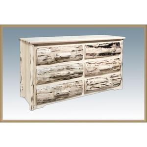 Montana Woodworks - Premium Montana Rustic 6 Drawer Dresser With Log Front Drawers, Dovetailed Drawers And Full Extension Glides