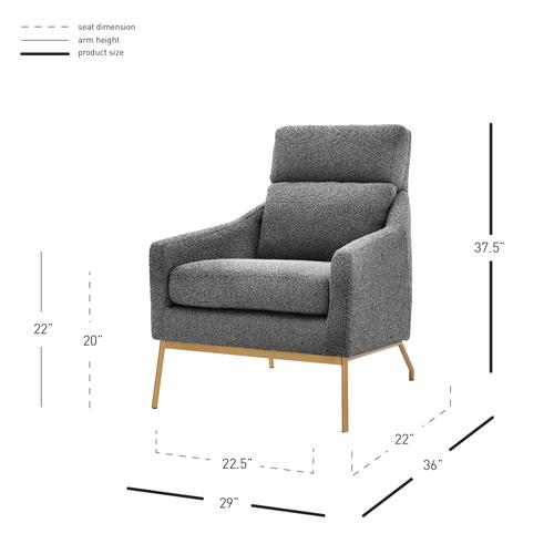Adrian Fabric Accent Arm Chair, Boucle Gray