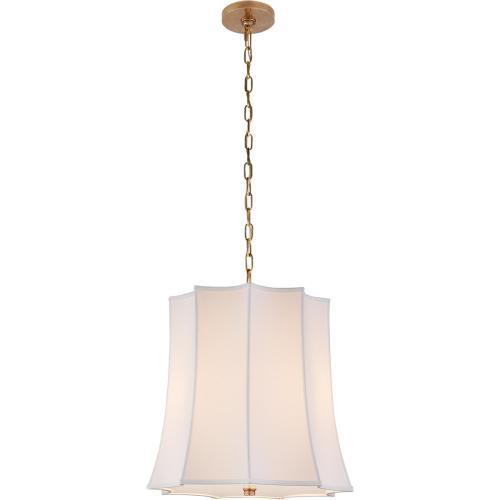 Visual Comfort AH5027NB-PL Alexa Hampton Peter Crown 2 Light 21 inch Natural Brass Hanging Shade Ceiling Light, Alexa Hampton, Crown, Natural Percale Shade