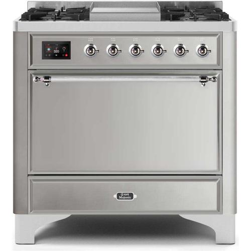 Product Image - Majestic II 36 Inch Dual Fuel Natural Gas Freestanding Range in Stainless Steel with Chrome Trim