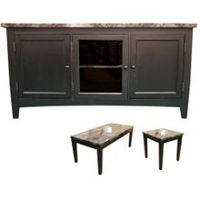 See Details - Black Faux Marble TV Console