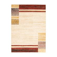 Holland - Contemporary Squares Area Rug, Beige and Red, 5' x 7'