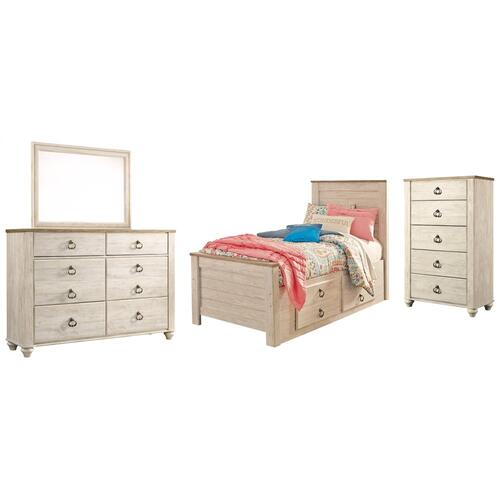 Twin Panel Bed With 2 Storage Drawers With Mirrored Dresser and Chest