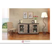"""See Details - 68"""" Wood console with 3 Drawers, 2 Glass doors with metal accents"""