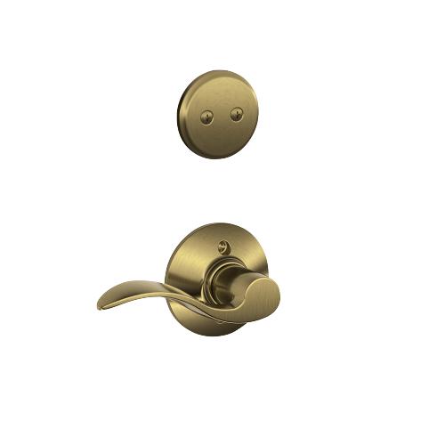 Schlage - Century In-active Handleset and Accent Lever - Antique Brass