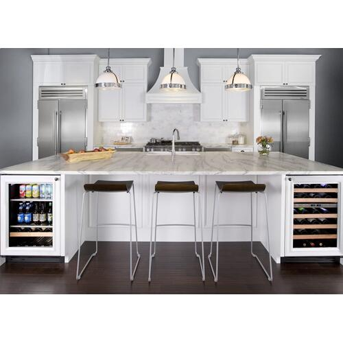 24 Inch Stainless Glass Door Left Hinge Undercounter Beverage Center