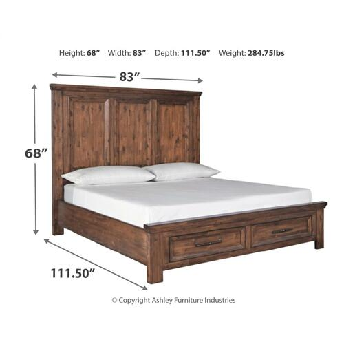 Royard California King Panel Bed With 2 Storage Drawers