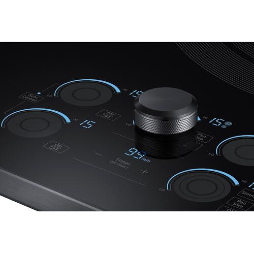"36"" Smart Electric Cooktop with Sync Elements in Black Stainless Steel"