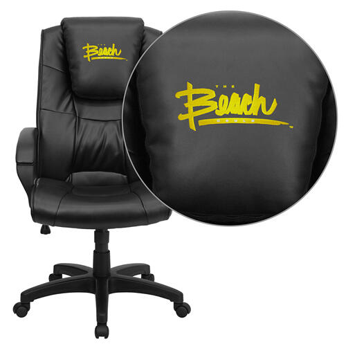 California State University - Long Beach 49ers Embroidered Black Leather Executive Office Chair