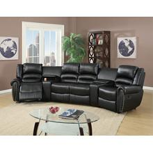 Tasi 5pc Reclining/Motion Home Theater Sofa Set, Black Bonded Leather