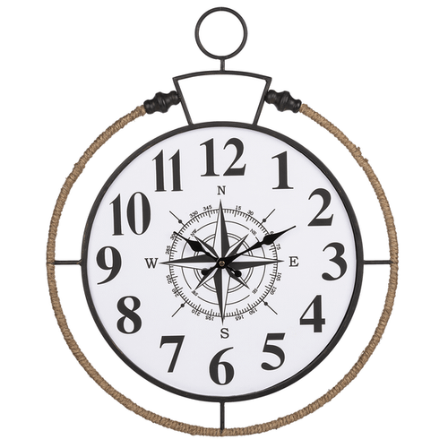 Compass Wall Clock with Rope Edge