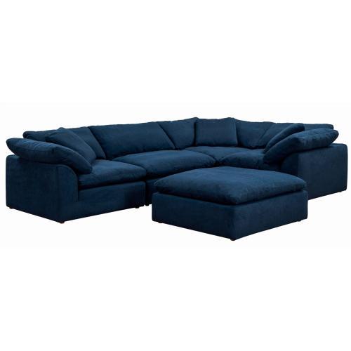 Cloud Puff Slipcovered Modular L Shaped Sectional Sofa w/Ottoman (5 Piece)