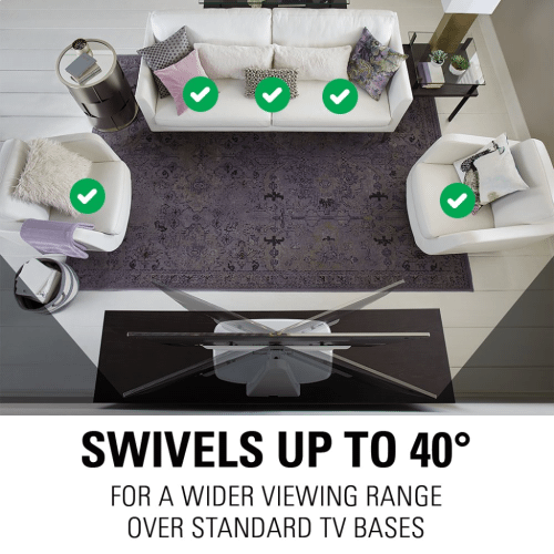 """White Swivel TV Base for 32""""-65"""" TVs Designed to be Sonos PLAYBASE Compatible"""