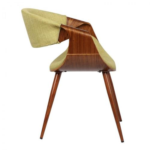 Armen Living Butterfly Mid-Century Dining Chair in Walnut Finish and Green Fabric