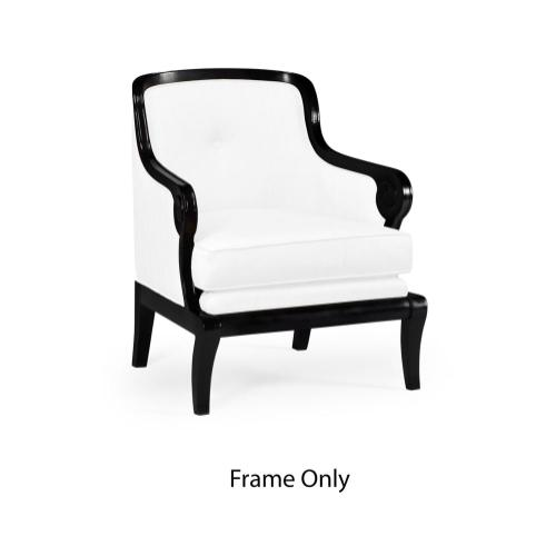 Shallow carved black painted occasional chair, Frame only