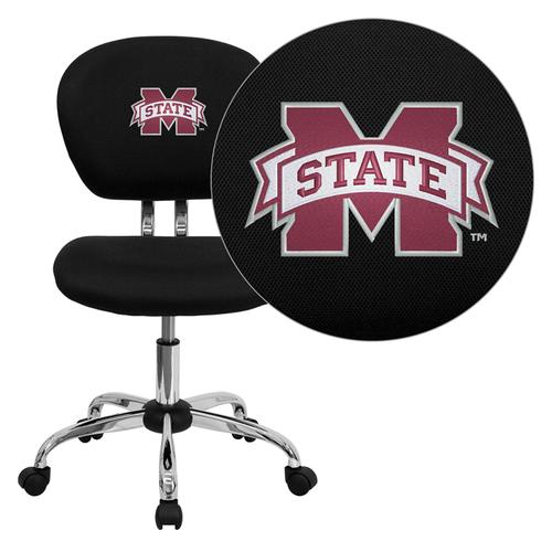 Mississippi State University Bulldogs Embroidered Black Mesh Task Chair with Chrome Base