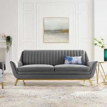 Winsome Channel Tufted Performance Velvet Sofa in Gray
