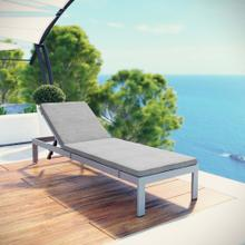 Shore Outdoor Patio Aluminum Chaise with Cushions in Silver Gray