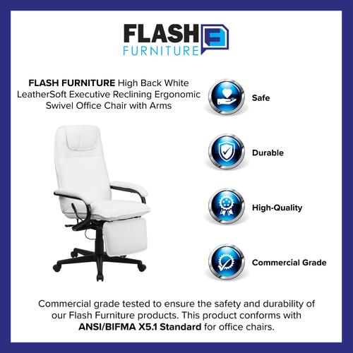 Gallery - High Back White LeatherSoft Executive Reclining Ergonomic Swivel Office Chair with Arms