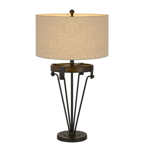 Kirkcaldy Metal/Wood Table Lamp With Drum Burlap Shade