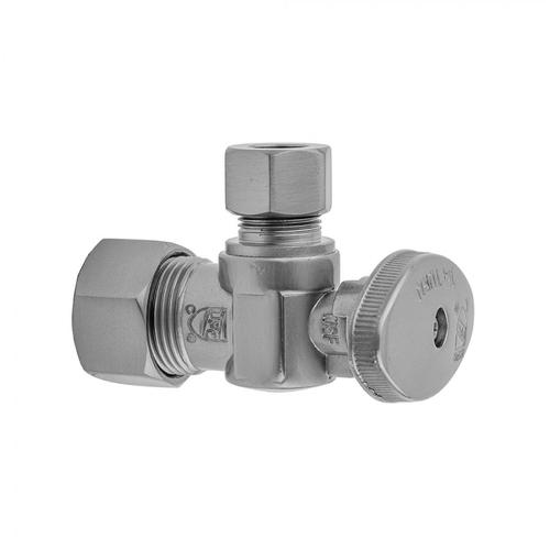 """Satin Brass - Quarter Turn Angle Pattern 5/8"""" O.D. Compression (FITS 1/2"""" Copper) x 3/8"""" O.D. Supply Valve with Oval Handle"""