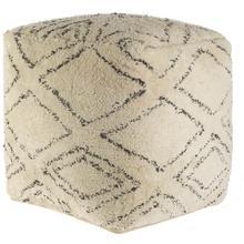 See Details - Tapir Beige Cotton Argyle Pattern Square Pouf