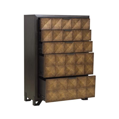 Hudson 5 Drawer Chest in Gold and Black