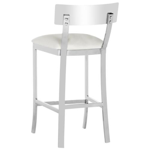 Abby 35'' H Stainless Steel Counter Stool - White / Chrome