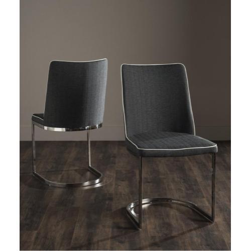 Parkston 18''h Linen Side Chair - Grey / White / Chrome