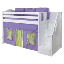 Mid Loft Bed with Staircase on End, Top Tent & Underbed Curtains