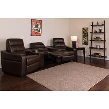 See Details - Theatre Seats  LeatherSoft Reclining Home Theatre Sectional Sofa