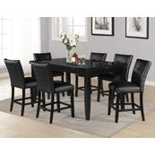 Markina 7 Piece Rectangular Black Marble Top Counter Set(Counter Table & 6 Counter Chairs)