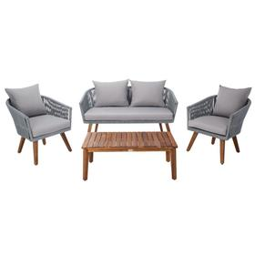 Velso 4 PC Living Set - Grey Rope / Grey Cushion / Natural Legs