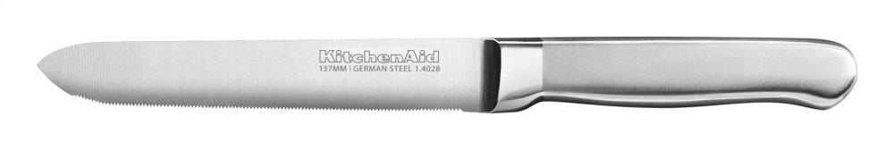 Classic Forged 5.5-Inch Brushed Stainless Serrated Utility Knife - Stainless Steel