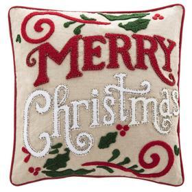 Merry Merry Pillow - Green/red/beige