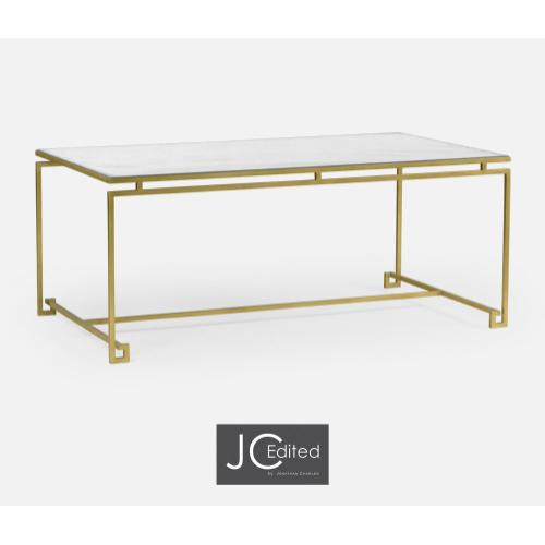 Gilded Iron Rectangular Coffee Table with An Antique Glass Top