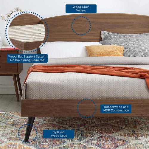 Bronwen Queen Wood Platform Bed in Walnut