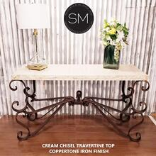 "Vintage Wrought iron console table with Natural Travertine Stone top. - 59"" x 19"" Beveled / Cream Travertine / Dark Rust Brown"