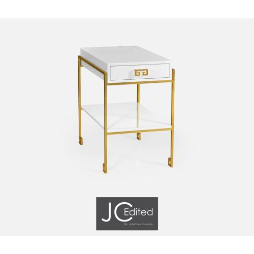 Gilded iron end table with Biancaneve drawer