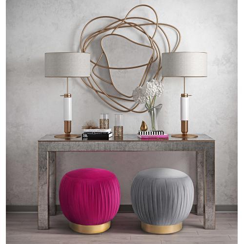 Tov Furniture - Tulip Pink Velvet Ottoman